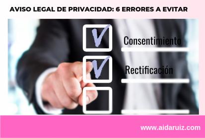 Aviso legal de privacidad: 6 errores a evitar - Aida Ruiz