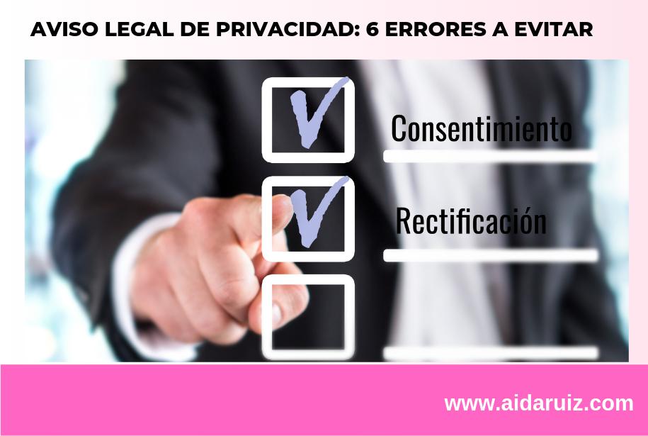 Aviso legal de privacidad: 6 errores a evitar